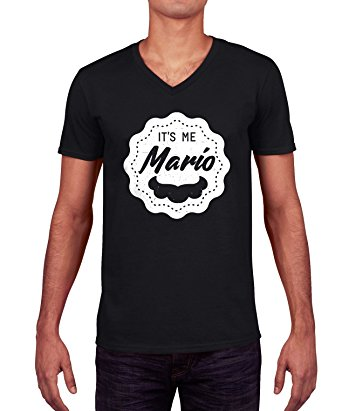 Super Mario Inspired Moustache Badge Graphic Homme V-neck T-shirt